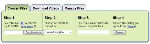 Zamzar Dateien Konvertieren